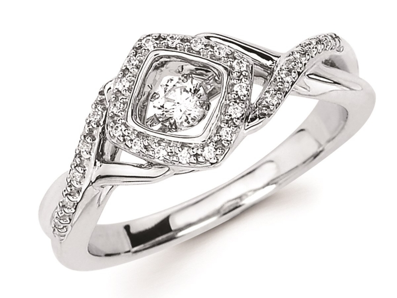 Shimmering Diamond  - Halo Shimmering Diamond Ring - image #2