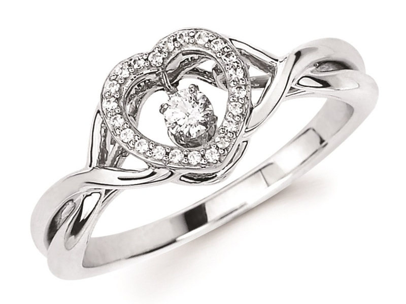 Shimmering Diamond  - Heart Halo Shimmering Diamond Ring - image #2