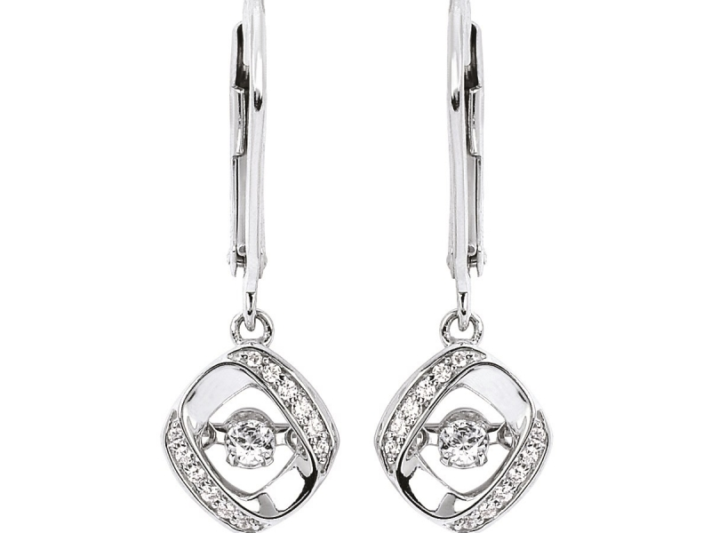 Pendants & Necklaces - Silver Shimmering Diamond Earrings - image #2