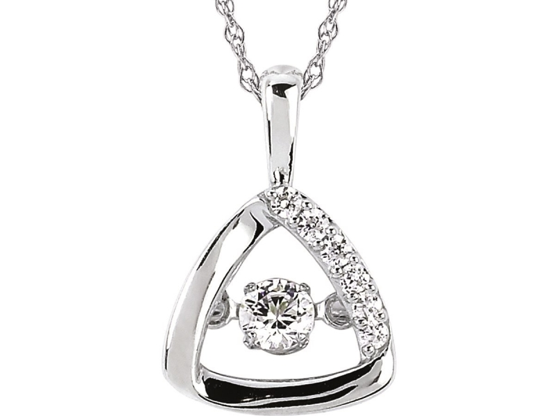 Pendants & Necklaces - Silver Shimmering Diamond Pendant - image 2
