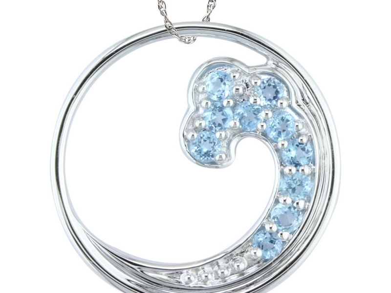 Pendants & Necklaces - Blue Topaz Wave Pendant - image #2