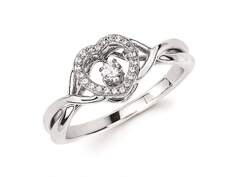 Shimmering Diamond  - Heart Halo Shimmering Diamond Ring