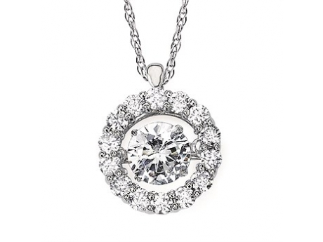 Pendants & Necklaces - Halo Shimmering Diamond Pendant