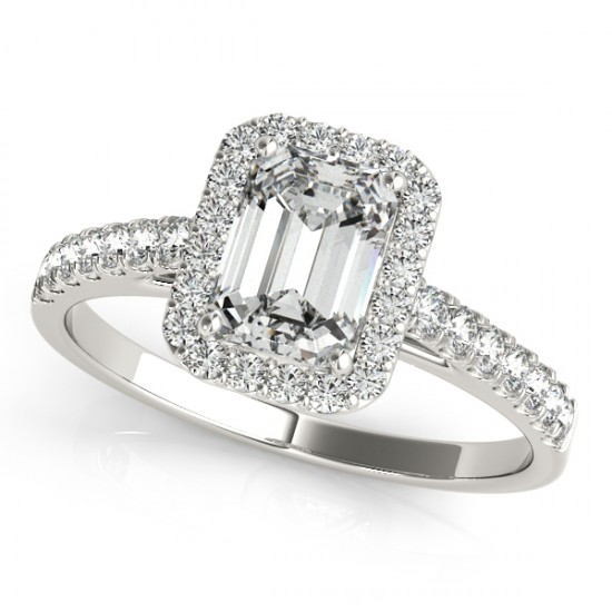 Diamond engagement rings - White Gold 14 Karat Halo Design Diamond Engagement With One 1.56Ct Emerald Cut Diamond-F Color, VS1 Clarity-Accented With 36=0.27Tw Round Brilliant Diamonds