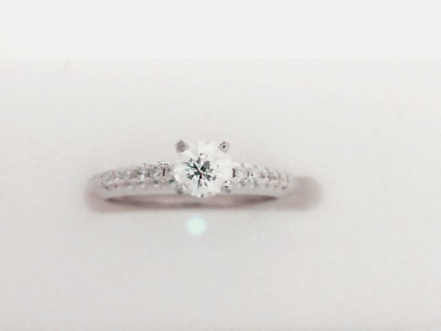 Diamond engagement rings - White Gold 14 Karat Diamond Engagement Ring With One 0.31Ct Round Brilliant Diamond-Spirit of Flanders Cut- F Color, SI2 Clarity Acented by 0.10Tw Diamonds