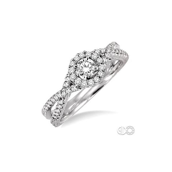 Diamond engagement rings - White Gold 14 Karat Halo Design Diamond Engagement Ring With Double Shank-Center  One 0.22Ct Round Diamond-I Color, SI1 Clarity- Accented With 46=0.35Tw Round Diamonds