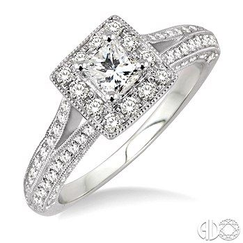 Diamond engagement rings - White Gold 14 Karat Halo Style With Split Diamond Shank Diamond Engagement Ring With One 0.47Ct Princess Cut Diamond -I Color, SI1 Clarity -Accented With 66=0.85Tw Round Diamonds