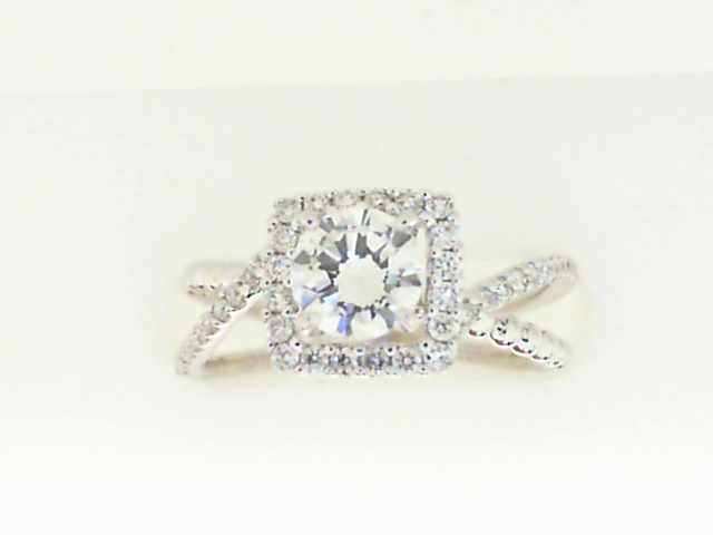 Diamond engagement rings - White Gold 14 Karat Halo With Bypass Diamond Engagement Ring With One 0.56Ct Round Brilliant Diamond-I Color, SI2 Clarity- Accented With 42=0.25Tw Round Brilliant  Diamonds