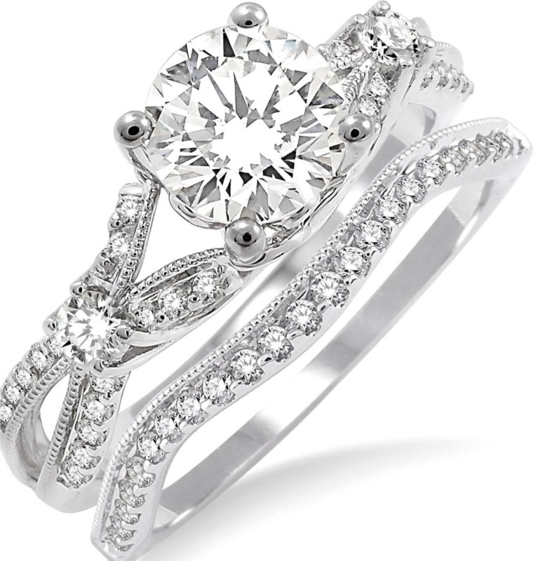 Diamond engagement rings - White Gold 14 Karat Split Shank Diamond Engagement Ring With Center 0.60Ct Round Brilliant Diamond Accented With 30=0.25Tw Round Brilliant Diamonds I Color, SI2 Clarity