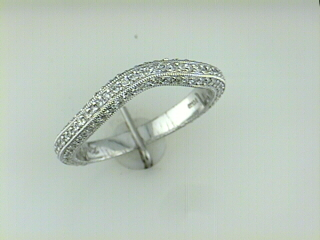 Wedding Band - Ladies Platinum Granular Pave'set Ring With  00.56 Twt Diamond by Kirk Kara