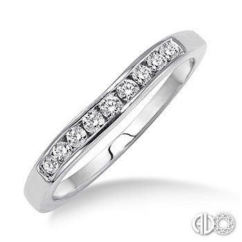Wedding Band - Lady's White Gold 14 Karat Channel Set Wedding Band With 9=0.25Tw Round  Diamonds-H/I Color, SI2 Clarity