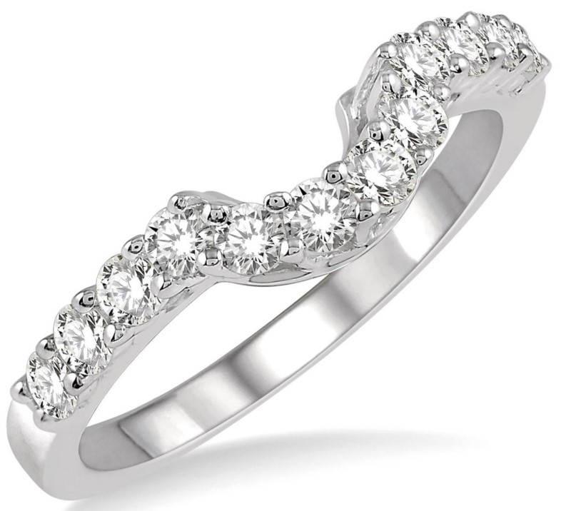 Wedding Band - Lady's White Gold 14 Karat Shadow Wedding Band With 15=0.40Tw Round Brilliant Diamonds-G/H Color, VS/SI Clarity