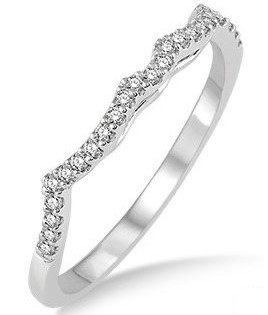 Wedding Band - Lady's White Gold 14 Karat Shadow Band Wedding Band With Round Brilliant Diamonds-27 diamonds=0.15Tw