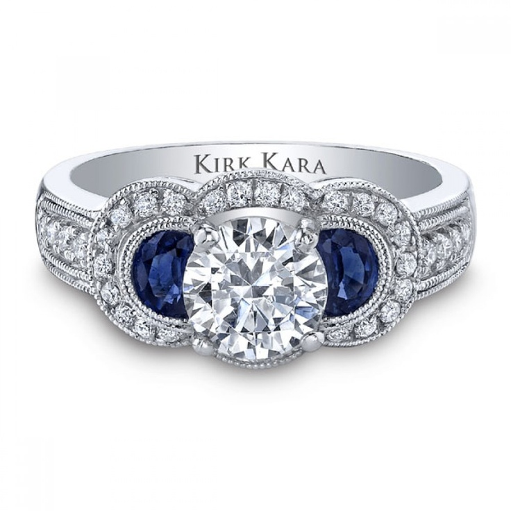 Ring - Ladies 18K White Gold Victoria Ring With .86 Half Moon Shaped Blue Sapphire And .25 Diamond by Kirk Kara