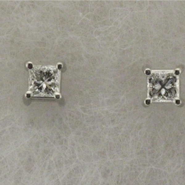 Earring - Lady's White Gold 14 Karat Stud Earring With 2=0.60Tw Princess Cut Diamonds-H/I Color, VS2 Clarity