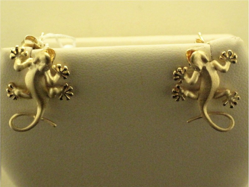 Earring - Lady's Yellow Gold 14 Karat Satin Gecko Earrings With 4=0.02Tw Round Brilliant Diamonds Eyes-Denny Wong Designs