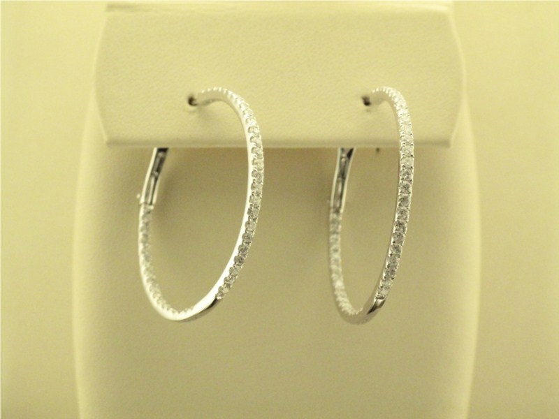 Earring - Lady's White Gold 14 Karat Inside/Outside Round Hoop Earring With 1.55Tw Round Brilliant Diamonds-G/H Color, SI1/SI2 Clarity, 82 diamonds