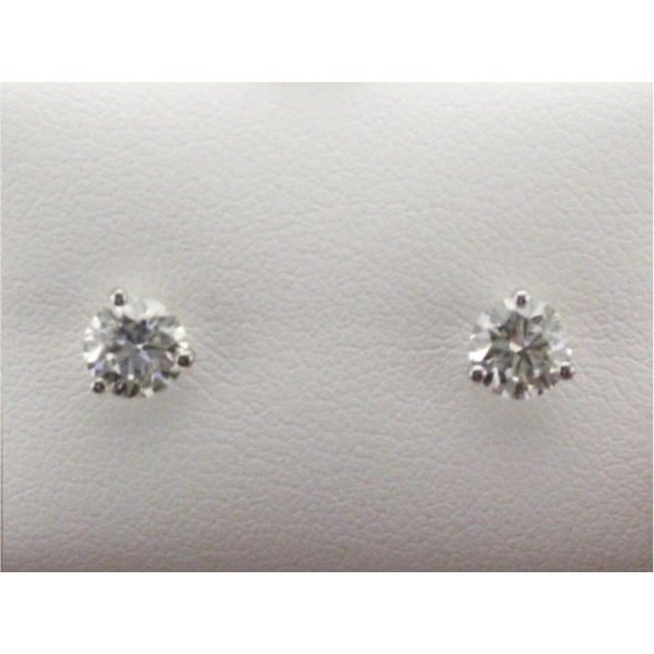 Earring - Lady's White Gold 14 Karat Stud Earrings With 1.00Tw Round Brilliant  Diamonds-J/K Color, SI2/I1 Clarity
