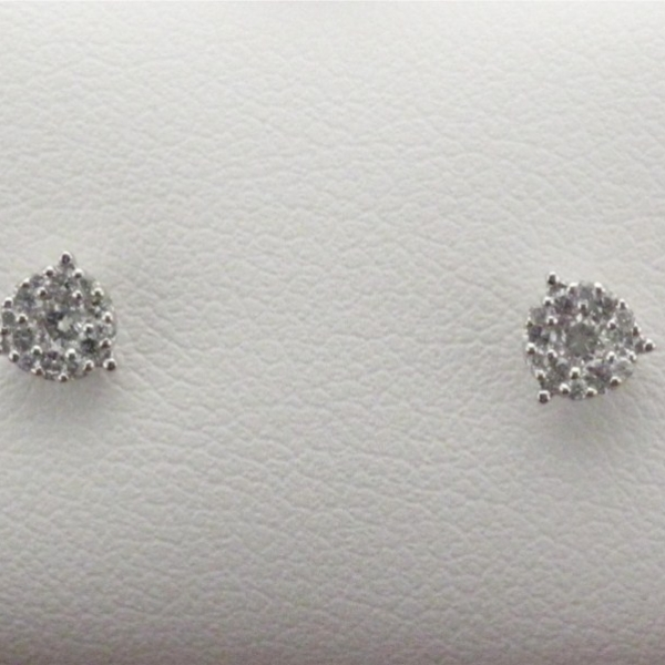 Earring - Lady's White Gold 14 Karat Cluster Stud Earrings With 0.20Tw Round Brilliant Diamonds
