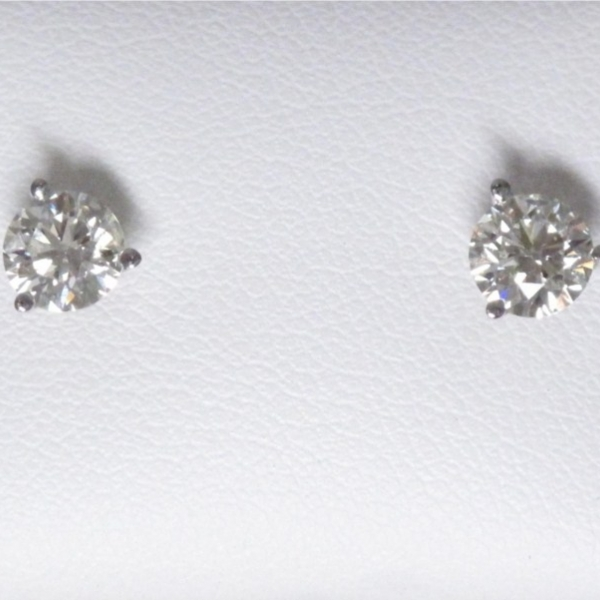 Earring - Lady's White Gold 14 Karat Martini Earrings With 2=1.11Tw Round Brilliant  Diamonds-L Color, SI2 Clarity