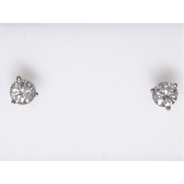 Earring - Lady's White Gold 14 Karat Martini Stud Earrings With 2=0.60Tw Round Brilliant Diamonds- H Color, SI1 Clarity