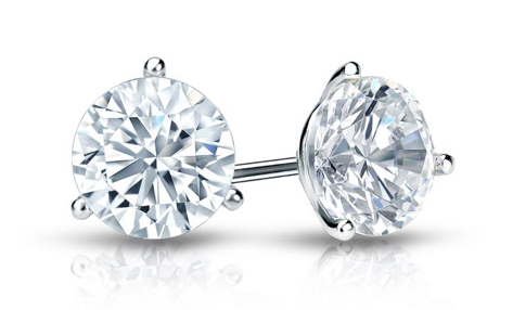 Earring - Lady's White Gold 14 Karat Martini Stud Earrings- 1.00ct-SI2/I1 Clarity/ G/H Color