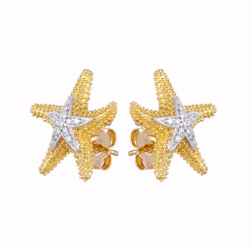Earring - Yellow Gold 14 Karat Sea Star Earring With 22=0.11Tw Round Brilliant Diamonds-Denny Wong Designs
