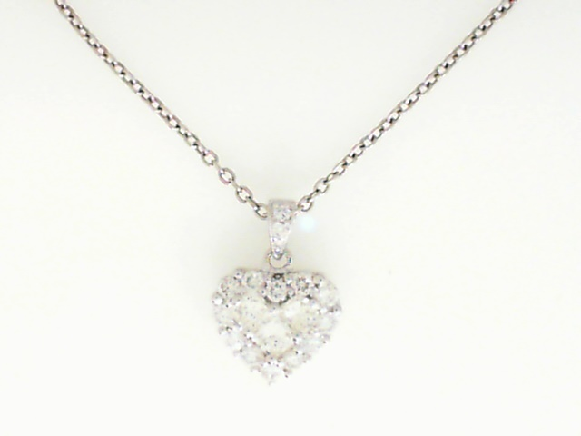 Pendant - Lady's White Gold 18 Karat Diamond Heart Drop Pendant With 22=1.00Tw Round Brilliant and Princess Cut Diamonds-G/H Color, VS/SI Clarity Weight DWT: 2.9