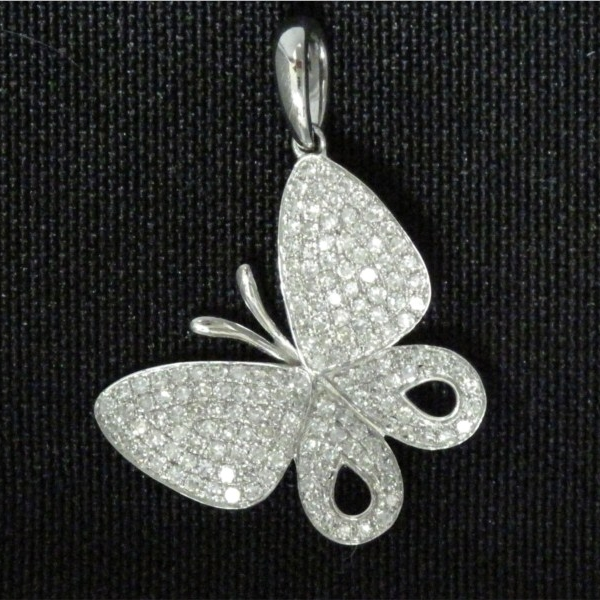 Pendant - Lady's White Gold 14 Karat Butterfly Pendant With 156=0.48Tw Round Brilliant Diamonds