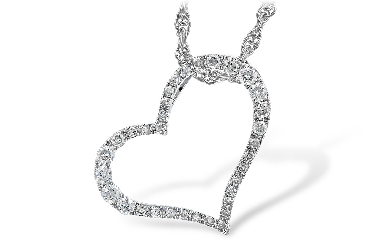 Pendant - Lady's White Gold 14 Karat Heart Pendant With 24=0.24Tw Round Brilliant Diamonds Style: Rope-Length 18