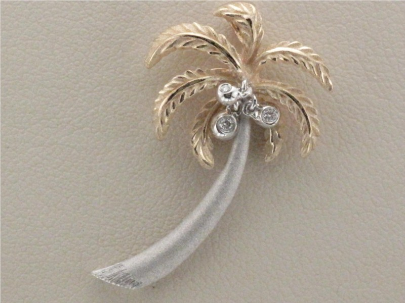 Pendant - Two-Tone Gold 14 Karat Palm Tree Pendant With 3=0.05Tw Round Brilliant Diamonds-Denny Wong Designs