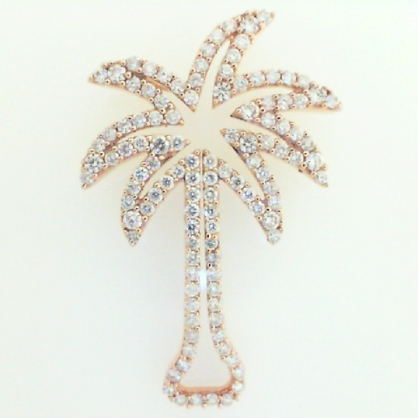 Pendant - Lady's Rose Gold 14 Karat Palm Tree Silhouette Pendant With 0.75Tw Round Brilliant Diamonds