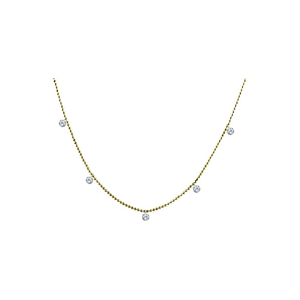 Necklace - Lady's Yellow Gold 14 Karat Drilled Diamonds By The Yard Necklace With 5=0.50Tw Round Brilliant Diamonds