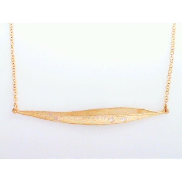 Necklace - Lady's Yellow Gold 14 Karat Eucalyptus Necklace With 2=0.02Tw Round Brilliant Diamonds- adjustable chain