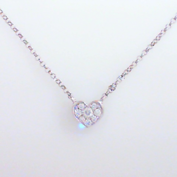 Necklace - Lady's White Gold 18 Karat Heart Necklace With 0.15Tw Round Brilliant Diamonds-G Color, SI1 Clarity