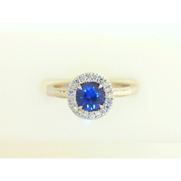 Fashion Ring - Lady's White Gold 14 Karat Halo  Ring With One 0.48Ct Round Blue Sapphire And 20=0.09Tw Round G/H SI1/SI2 Diamonds