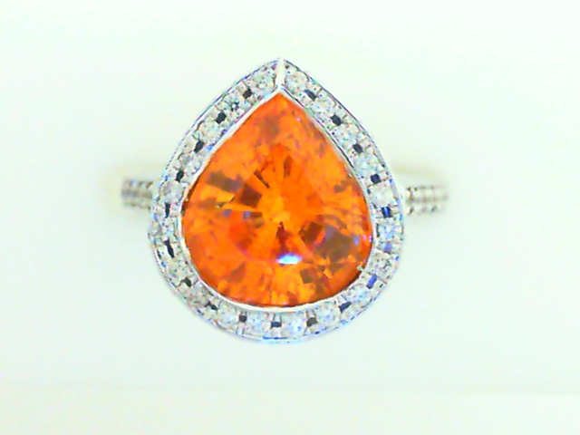 Fashion Ring - Lady's White Gold 18 Karat  Ring With One 4.05Ct Pear Shaped Mandarin Garnet And 64=0.45Tw Round G/H SI1/SI2 Diamonds