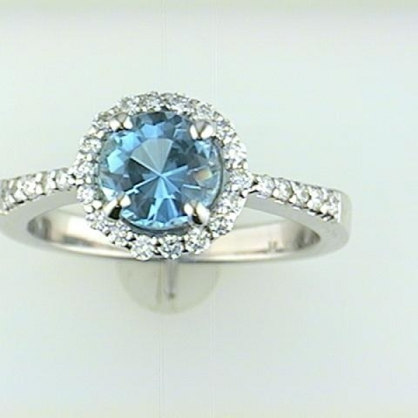 Fashion Ring - Lady's White 14 Karat Halo Style Ring With One 1.20Ct Round Aqua And 28=0.28Tw Round Diamonds