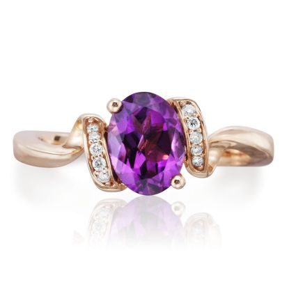 Fashion Ring - Lady's Rose Gold 14 Karat Diamond Wrapped Ring With One Oval Shape Amethyst, 1.07Ct  And  Round Brilliant Diamonds, 10=0.07Tw