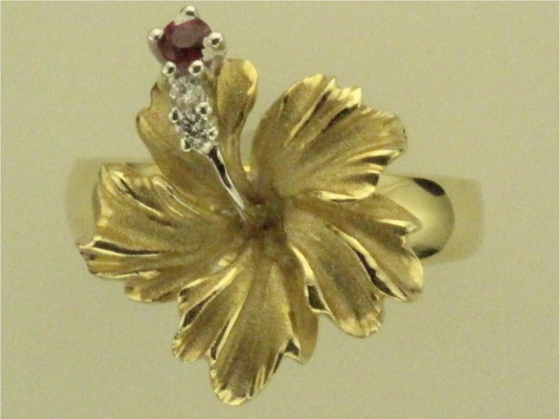 Fashion Ring - Lady's Two-Tone Gold 14 Karat Hibiscus Ring With One 0.03Ct Round Ruby And 2=0.03Tw Round Brilliant Diamonds- Denny Wong Designs