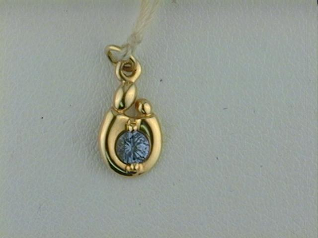 Pendant - 14K Gold Synthetic Stone December  Pendant Mom And Child