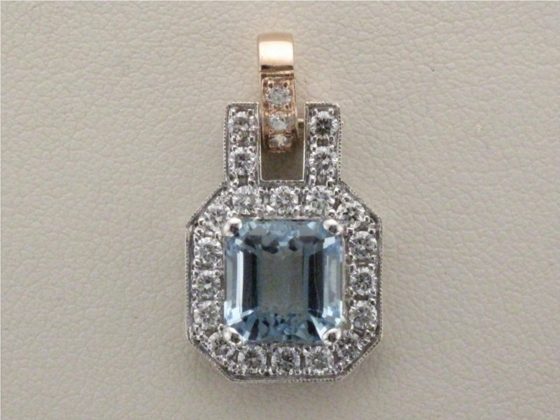Pendant - Lady's Two-Tone 18 Karat Halo Style Pendant With One 2.95 Ct Square Cut Aquamarine And 23=1.14Tw Round Diamond-G/H Color, SI1/SI2 Clarity 3.4 DWT