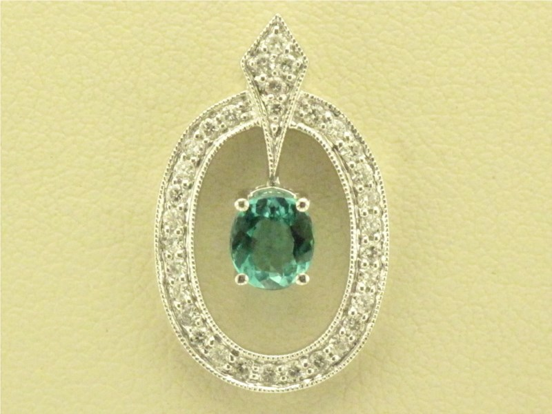 Pendant - Lady's White Gold 14 Karat Halo Pendant With One 0.47Ct Oval Shape Green Blue Tourmaline And 0.28Tw Round Brilliant Diamonds, 32 Diamonds, G/H Color, SI1 SI2 Clarity