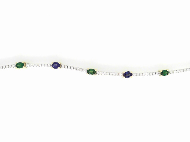 Bracelet - Lady's Two-Tone 14 Gold Karat  Bracelet With 9=2.31Tw Oval Shape Tsavorite Garnets And 72=0.65Tw Round G/H Si1 Diamonds