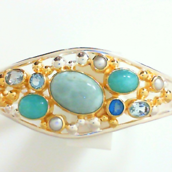 Bracelet - Sterling Silver and 22K Gold Vermeil Cuff Bracelet with Larimar, Amazonite, Baby Blue Topaz, Sky Blue Topaz, Teal Topaz and White Freshwater Pearl