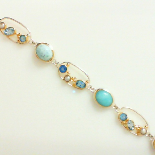 Bracelet - Sterling Silver and 22K Gold Vermeil Bracelet with White Freshwater Pearl, Teal Topaz, Baby Blue Topaz, Larimar and Sky Blue Topaz