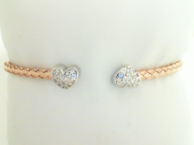 Bracelet - Lady's 18 Rose Gold Finish Sterling Silver Adele Cuff With Hearts -Round Brilliant Cubic Zirconiums