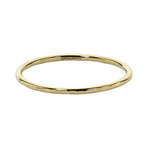 Ring - Lady's Yellow Gold 14 Karat Hammered Stackable Band -size 6