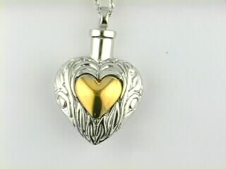 Charm - Sterling Silver Heart/Ash Pendant On An 18