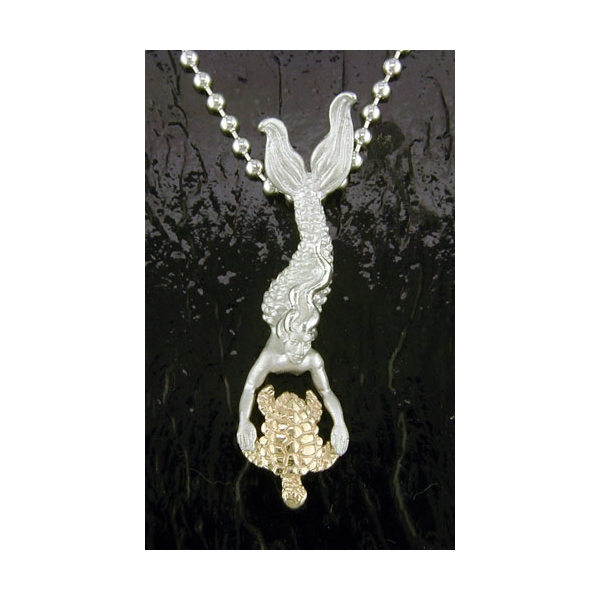 Charm - Two-Tone 14K/ Sterling Silver Mermaid With Turtle Pendant-Steven Douglas Designs